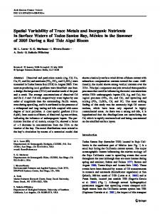 Spatial Variability of Trace Metals and Inorganic