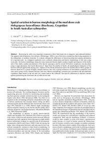 Spatial variation in burrow morphology of the mud shore crab ...
