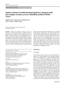 Spatial variation of otolith elemental signatures among juvenile gray ...