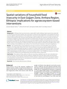 Spatial variations of household food insecurity in East Gojjam Zone ...