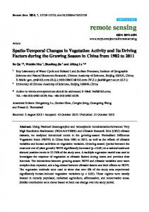Spatio-Temporal Changes in Vegetation Activity