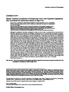 Spatio-temporal complexity of chimpanzee food - Max Planck Institute ...