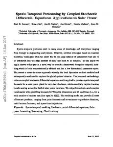 Spatio-Temporal Forecasting by Coupled Stochastic Differential ...
