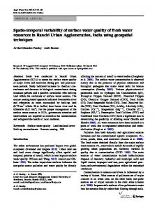 Spatio-temporal variability of surface water quality of fresh water ...