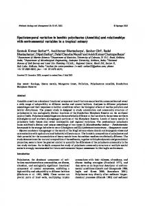 Spatiotemporal variation in benthic polychaetes (Annelida) and ...