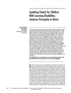 Speaking Clearly for Children With Learning Disabilities: Sentence ...