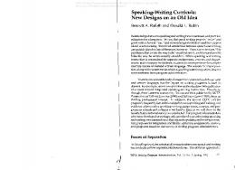 Speaking-Writing Curricula: New Designs on an Old Idea