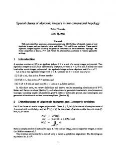 Special classes of algebraic integers in low-dimensional topology