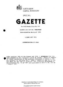 Special Gazette 142 1991 - ACT Legislation Register