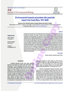 SPECIAL ISSUE - 2014 (page 1... - Journal of Environmental Biology