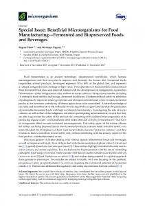 Special Issue: Beneficial Microorganisms for Food ... - MDPI