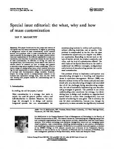 Special issue editorial: the what, why and how of mass ... - CiteSeerX