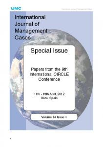 Special Issue - International Journal of Management Cases
