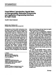 Special Issue on Interoperability, Federation ... - Springer Link