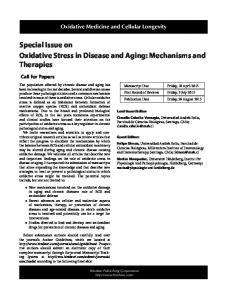 Special Issue on Oxidative Stress in Disease and Aging