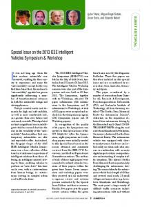 Special Issue on the 2013 IEEE Intelligent Vehicles ... - IEEE Xplore
