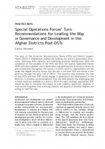 Special Operations Forces' Turn: Recommendations for Leading the ...