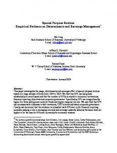 Special Purpose Entities: Empirical Evidence on ... - SSRN papers