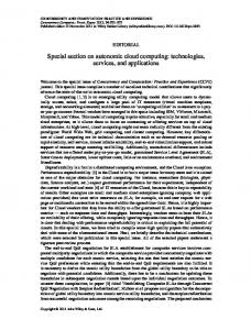 Special section on autonomic cloud computing - Wiley Online Library