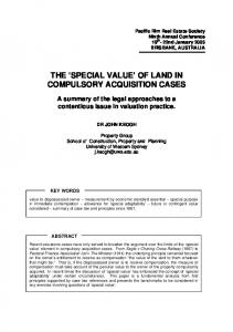 'Special Value' of Land in Compulsory Acquisition Cases - PRRES