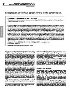 Specialisation and breast cancer survival in the screening ... - CiteSeerX