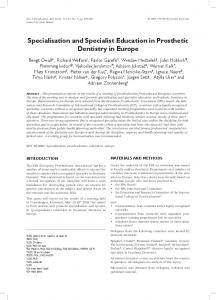 Specialisation and Specialist Education in Prosthetic Dentistry in Europe