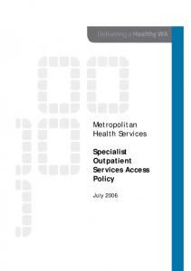 Specialist Outpatient Services Access Policy
