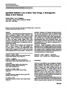 Specialist Palliative Care is More Than Drugs: A ... - Springer Link
