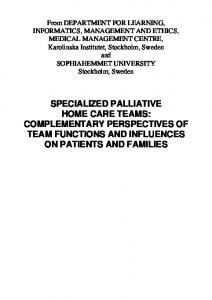 specialized palliative home care teams