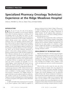 Specialized Pharmacy Oncology Technician
