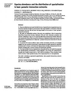 Species abundance and the distribution of specialization in host ...