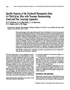 Specific features of the erythroid hemopoietic stem in ... - Springer Link