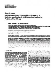 Specific Growth Rate Determines the Sensitivity of Escherichia coli to ...