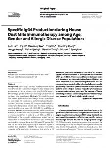 Specific IgG4 Production during House Dust Mite ... - Karger Publishers