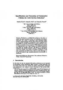 Specification and Execution of Declarative Policies ... - Massimo Marchi