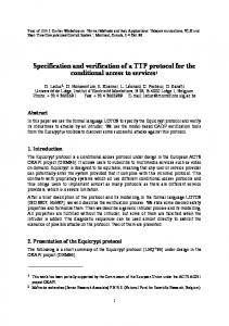 Specification and verification of a TTP protocol for the ...
