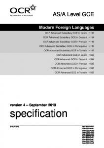 Specification - AS/A Level Modern Foreign Languages: Dutch ...