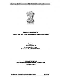 specification for train protection & warning system - Indian Railway
