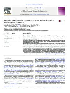 Specificity of facial emotion recognition impairments ...