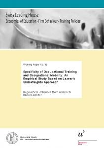 Specificity of Occupational Training and Occupational Mobility: An ...