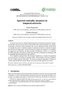 Spectral centrality measures in temporal networks - Ars Mathematica ...