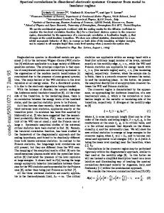 SPECTRAL CORRELATIONS IN DISORDERED ELECTRONIC ...