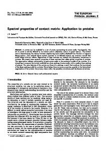 Spectral properties of contact matrix: Application to ... - Springer Link