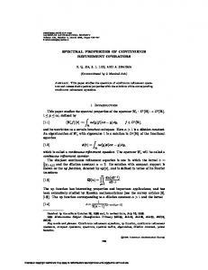 SPECTRAL PROPERTIES OF CONTINUOUS REFINEMENT ...