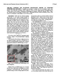 Spectral Unmixing for Planetary Exploration Applied to CRISM/MRO ...