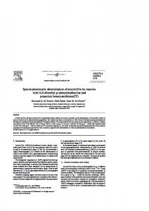 Spectrophotometric determination of amoxicillin by