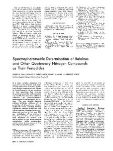 Spectrophotometric Determination of Betaines and