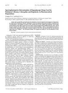 Spectrophotometric Determination of Dopaminergic Drugs Used for ...