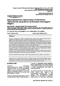 Spectrophotometric Determination of Eflornithine Hydrochloride using ...