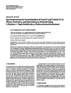 Spectrophotometric Determination of Iron (II) and Cobalt (II) by Direct